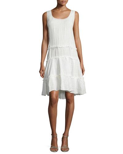 Sleeveless Ruffle-Skirt A-Line Dress, Chalk