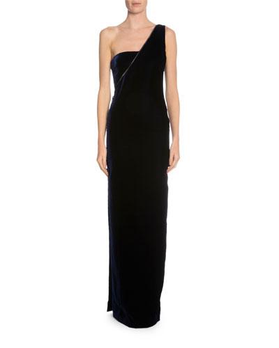 One-Shoulder Velvet Column Gown, Midnight