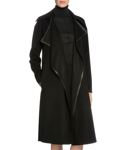 Draped-Front Cashmere Long Coat, Black