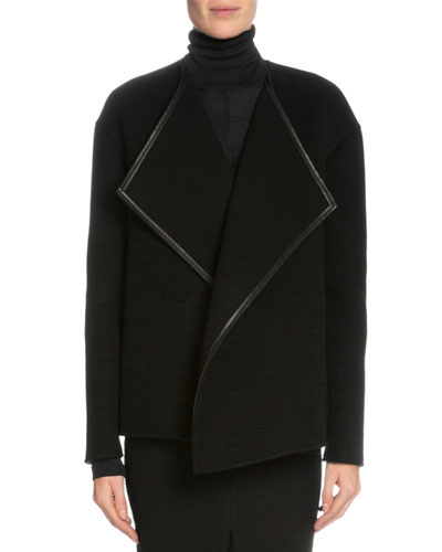 Leather-Trim Cashmere Wrap Jacket, Black