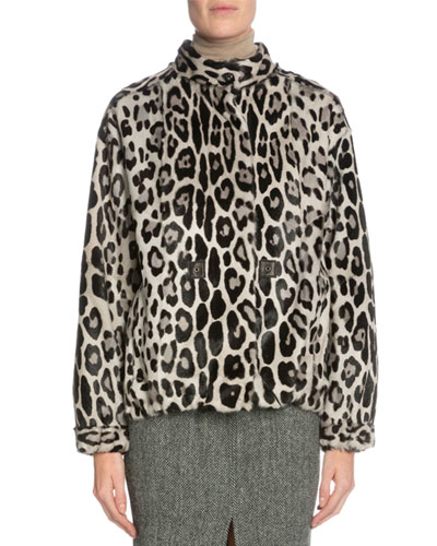 Leopard-Print Fur Jacket, Gray/Black