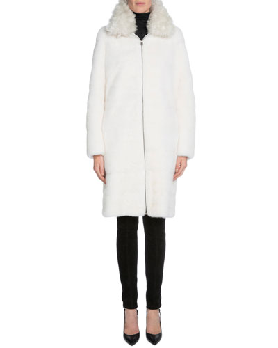 Mink Fur Long Coat W/Removable Collar, White