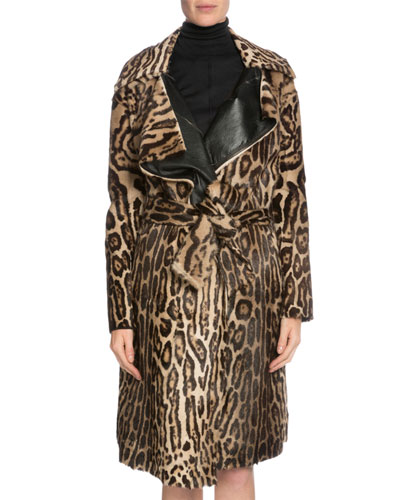 Leopard-Print Belted Long Fur Coat, Dark Brown/Beige