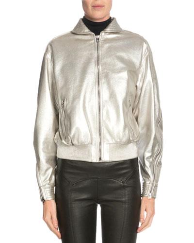 Zip-Front Metallic Jacket, Light Gray