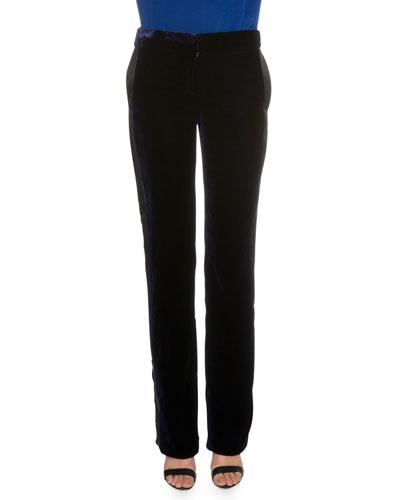 Straight-Leg Velvet Trousers, Midnight