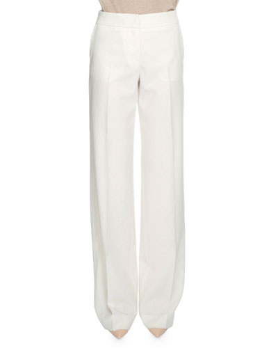 Flat-Front Wide-Leg Trousers, Chalk