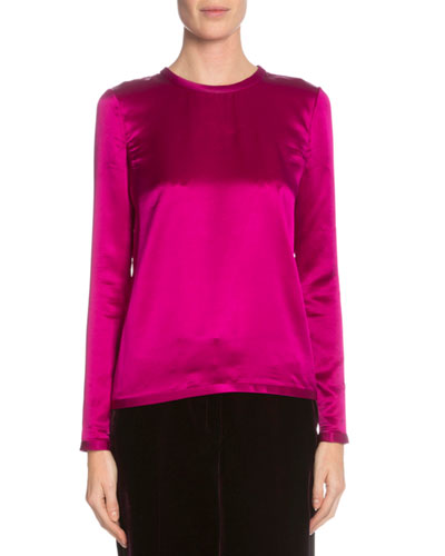 Long-Sleeve Jewel-Neck Blouse, Fuchsia