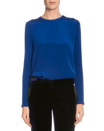 Long-Sleeve Jewel-Neck Top, Yves Blue