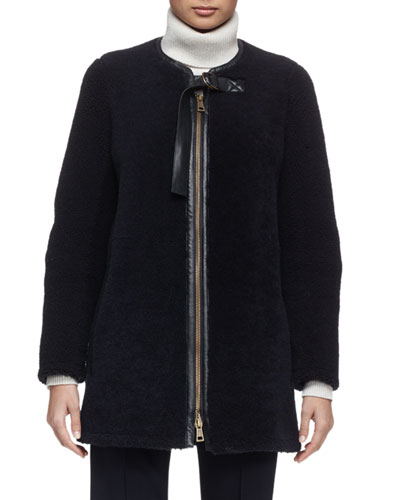 Iconic Aviator Zip-Front Shearling Coat, Navy