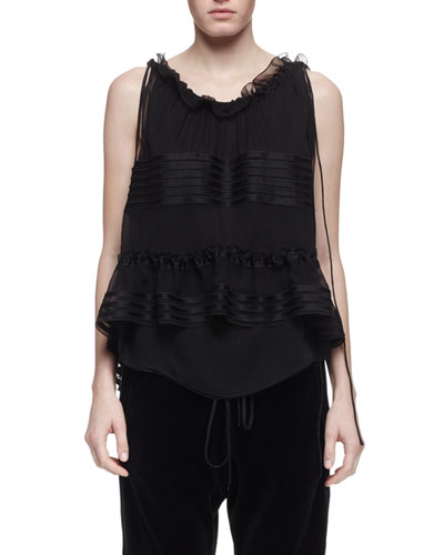 Sleeveless Ruffle-Trim Blouse, Black