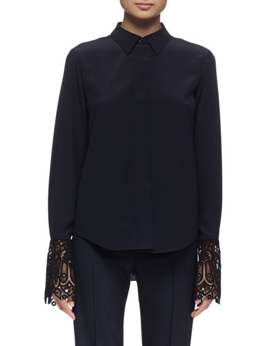 Long-Sleeve Lace-Cuff Blouse, Navy