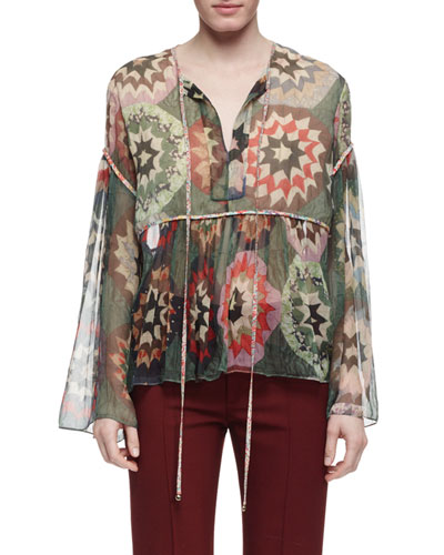 Mosaic-Patchwork Printed Blouse, Green/Multi