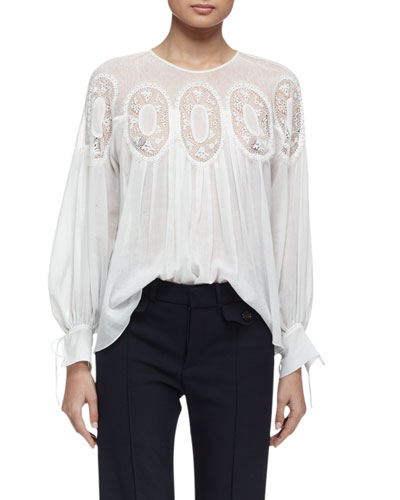 Long-Sleeve Medallion-Inset Blouse, Milk