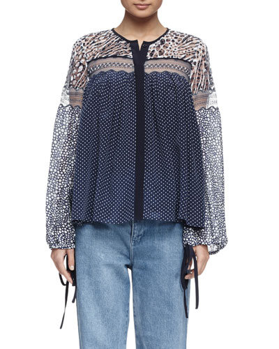 Long-Sleeve Lace Mixed-Print Blouse, Navy