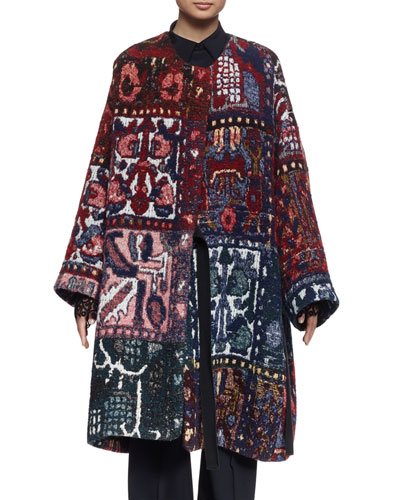 Long-Sleeve Blanket Coat, Multi Colors