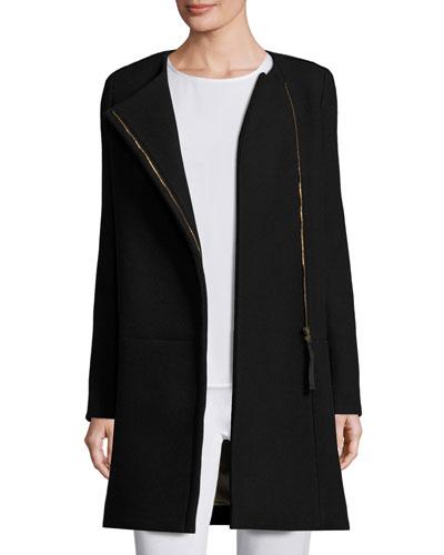 Long-Sleeve Two-Tone Sweater Coat, Black