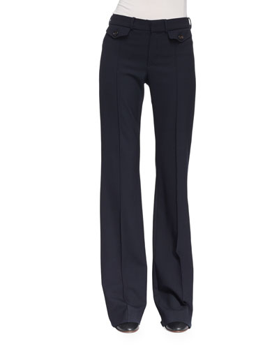 Wool Boot-Cut Pants, Navy