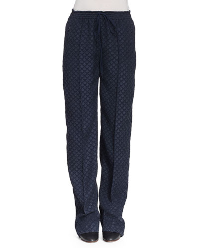 Straight-Leg Drawstring-Waist Pants, Navy