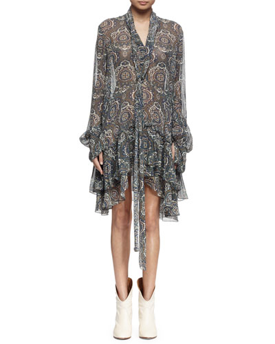 Long-Sleeve Tile-Print Tiered Dress, Khaki