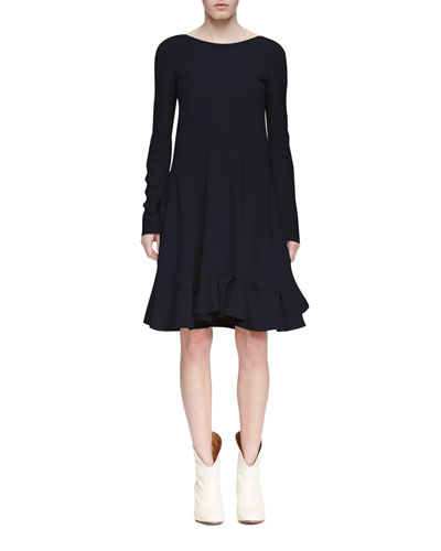 Long-Sleeve Flounce-Hem Dress, Navy