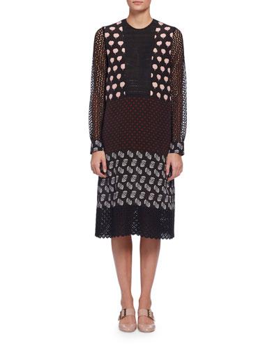 Long-Sleeve Mixed-Media Shift Dress, Multi Colors