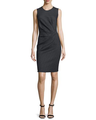 Sleeveless Fan-Pleated Sheath Dress, Black/Ivory