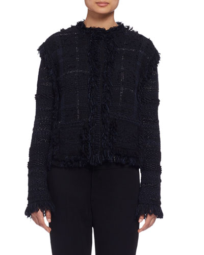Long-Sleeve Fringe-Trim Tweed Jacket, Black