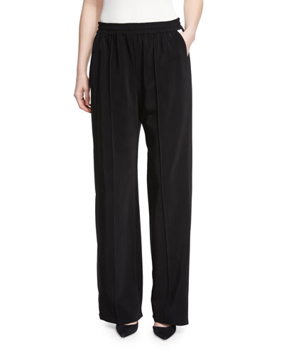 Elastic-Waist Wide-Leg Pants, Black/White