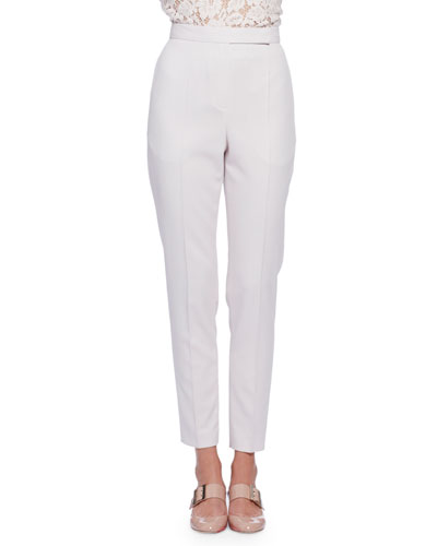 High-Waist Narrow-Leg Pants, Ivory