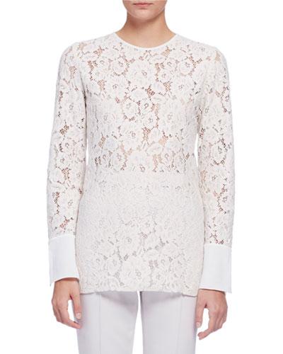 Long-Sleeve Lace Blouse, Ivory