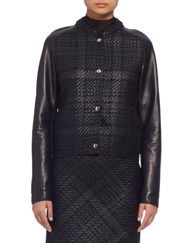 Long-Sleeve Braided-Front Leather Jacket, Black