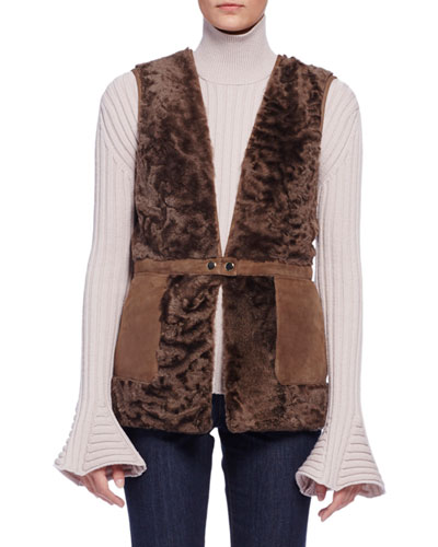 Two-Tone Shearling Fur Vest, Wine