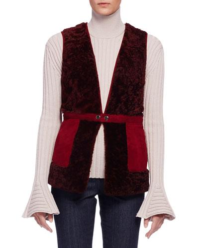 Two-Tone Shearling Fur Vest, Wine