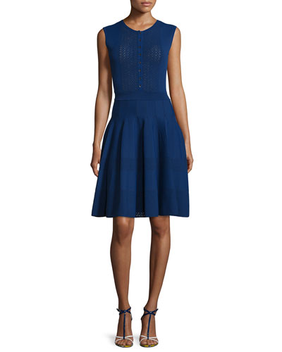 Sleeveless Button-Front Knit Dress, Marine Blue