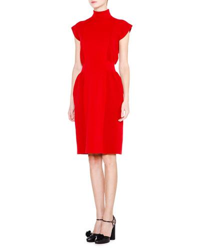 Cap-Sleeve Turtleneck Knit Dress, Red