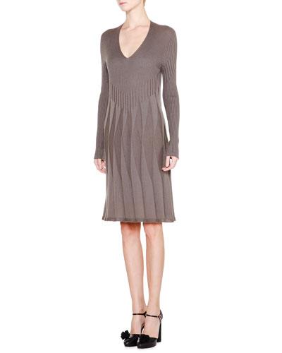 Long-Sleeve V-Neck Pleated Dress, Mud