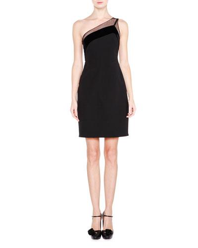 One-Shoulder Velvet-Trimmed Dress, Black