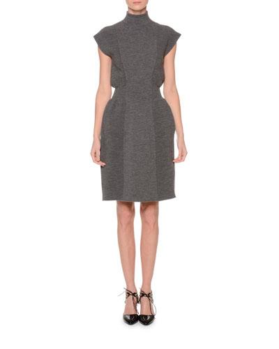 Cap-Sleeve Turtleneck Dress, Gray
