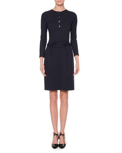 3/4-Sleeve Belted Sheath Dress, Navy