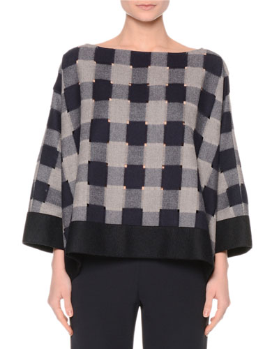 Bateau-Neck Check Top, Navy/Gray