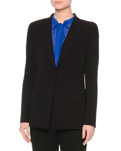 Classic Wool Two-Pocket Jacket, Black