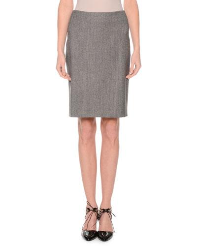 Mid-Rise Pencil Skirt, Black/Gray