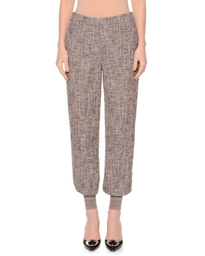 Mid-Rise Boucle Jogger Pants, Camel/Gray
