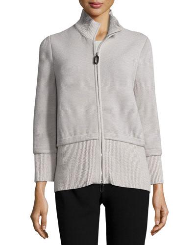 Mixed-Ribbed Knit Zip Jacket, Fog