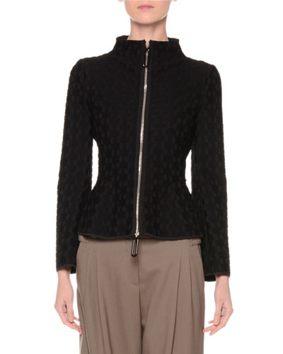Zip-Front Textured Jacket, Black