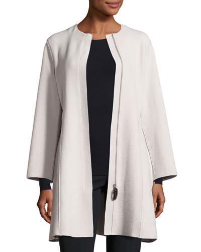 Textured A-Line Zip-Front Coat, Cloud