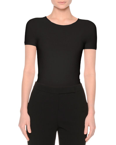 Short-Sleeve Round-Neck Tee, Black