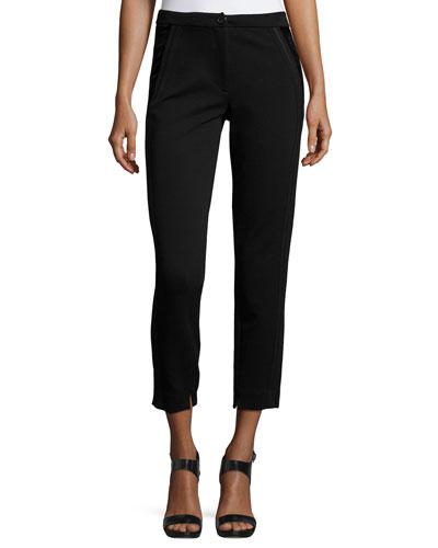 Velvet-Side Slim Cropped Pants, Black