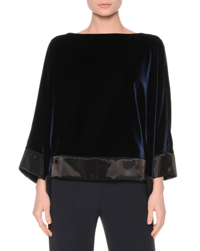 Bateau-Neck Velvet Top, Midnight