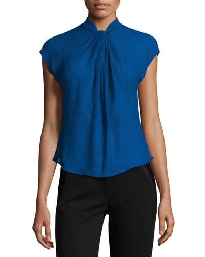 Gathered Organza Cap-Sleeve Blouse, Blue